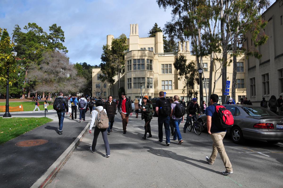 Stephens Hall with people
