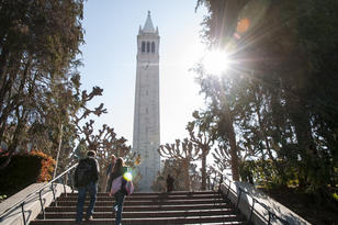 Campanile with steps and sun
